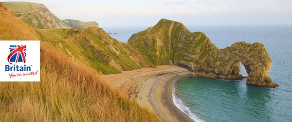 A linda paisagem de Durdle Door, na costa jurássica de Dorset, Inglaterra. Um Patrimônio da Humanidade.