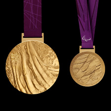 London 2012 Paralympic gold medal. Image courtesy of LOCOG