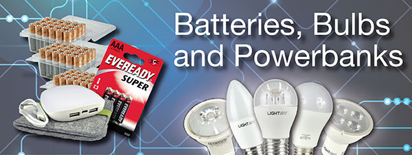 batteries, bulbs and powerbanks